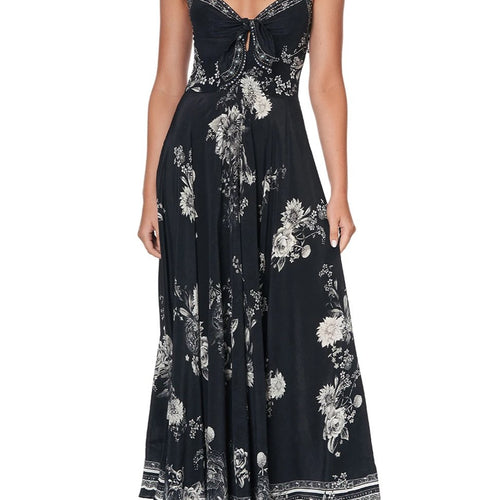 Moonshine Bloom Long Dress with Tie Front