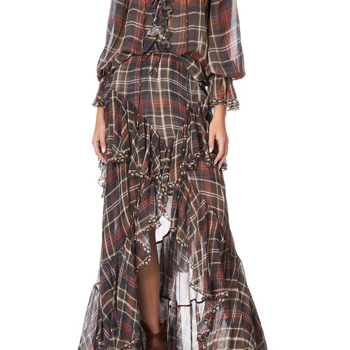 Hold Your Horses Maxi Skirt with Double Frill