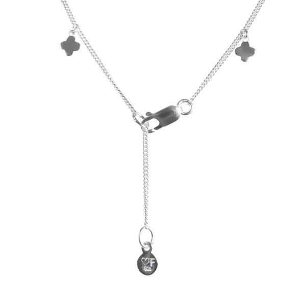 Clover Charm Necklace Silver