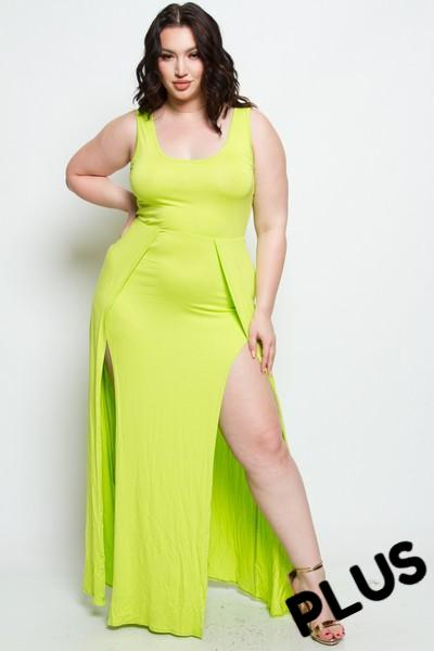 Bazil - +Plus Size Sleeveless Scoop Neck Front Slit Maxi Dress (Lime Green)