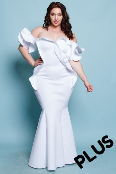 Plus Size Ruffled Off Shoulder Mermaid Maxi Dress (White)