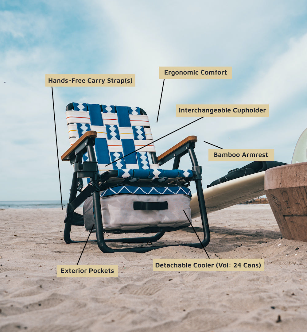 PARKIT OUTDOOR BEACH CHAIR LAWN CHAIR WTH FEATURE CALL OUTS FOR, Cupholder, Comfortable, Bamboo Armrest, Detachable Cooler, Handsfree Carry Straps.