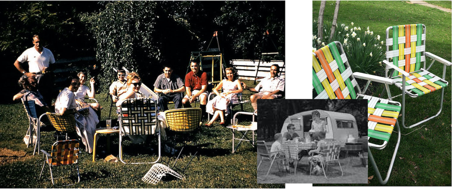 Group of friends gathered in the backyard using outdoor folding lawn chairs to spend quality time with each other