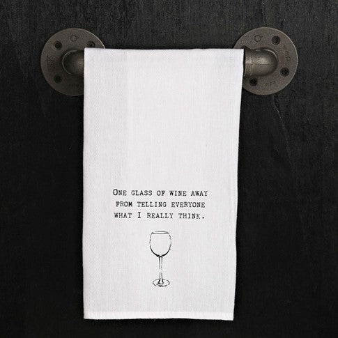One glass of wine away from telling-Kitchen Towel