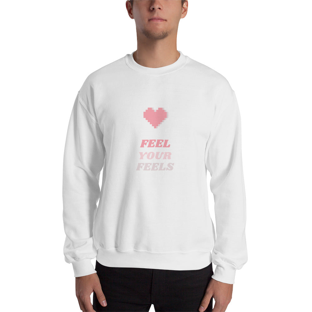 Feel Your Feels Men's Sweatshirt White - Hope Tribe Mental Health