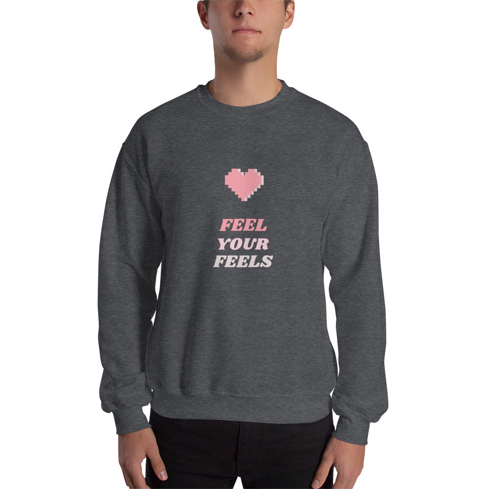 Feel Your Feels Men's Sweatshirt Dark Grey - Hope Tribe Mental Health