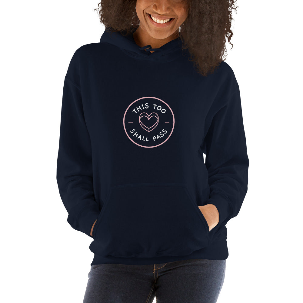 This Too Shall Pass Women's Hoodie Dark Blue - Hope Tribe Mental Health