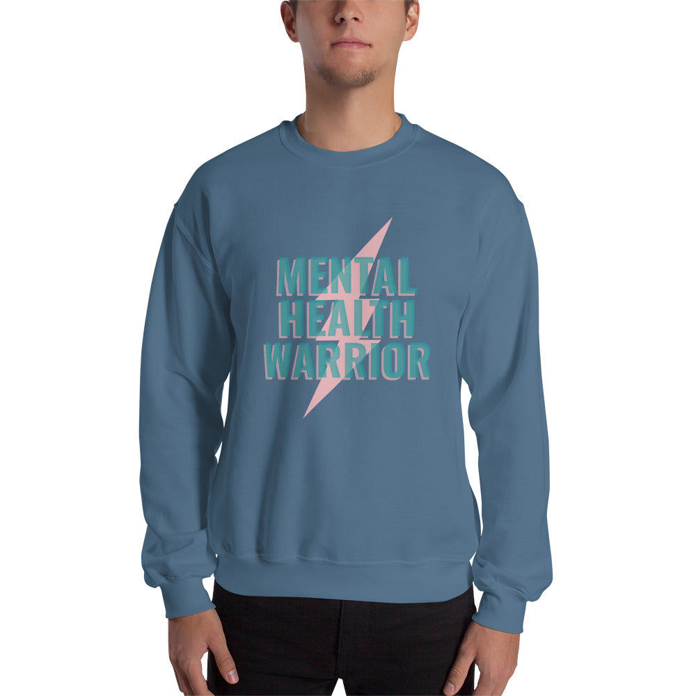 Mental Health Warrior Men's Sweatshirt Blue - Hope Tribe Mental Health
