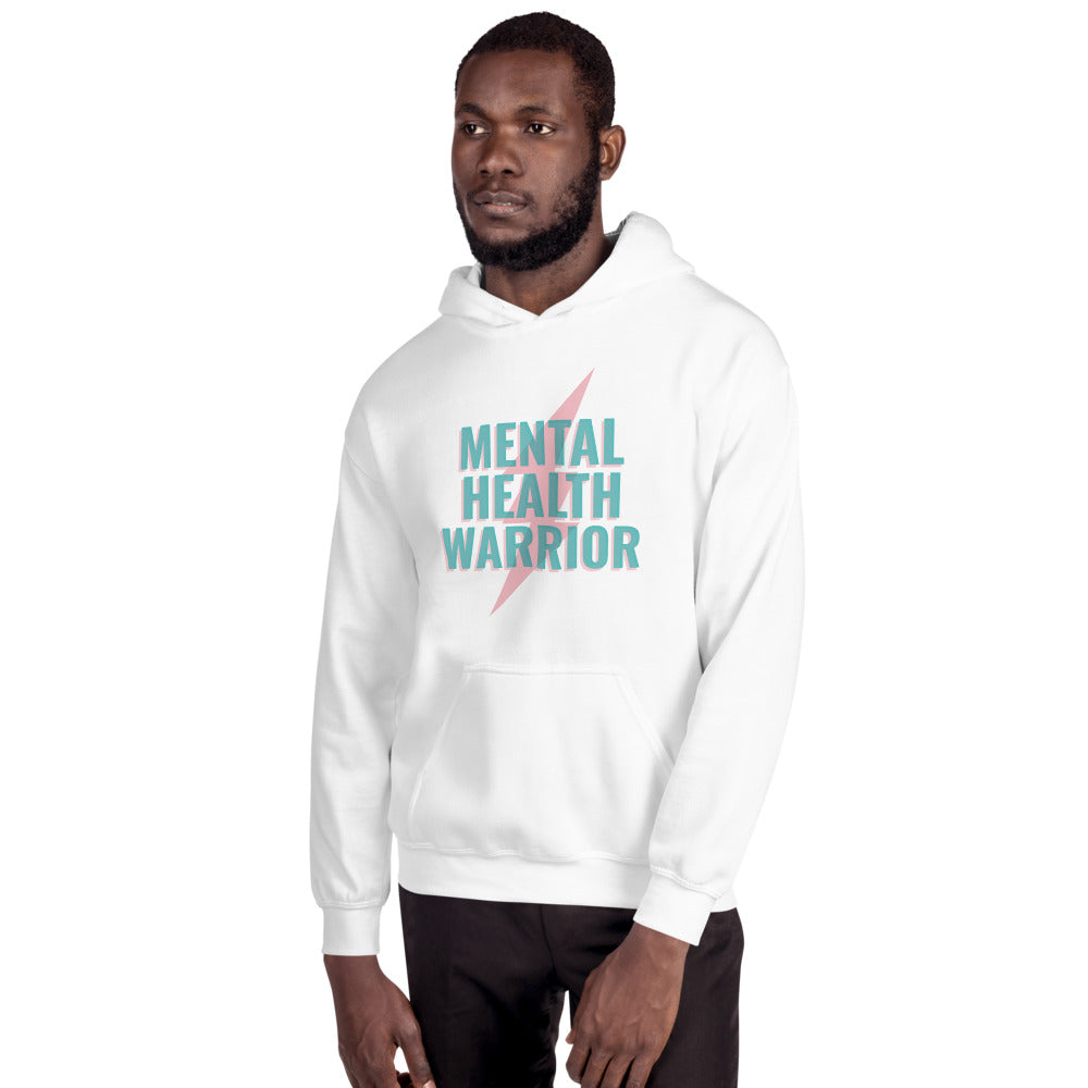 Mental Health Warrior Men's Hoodie White - Hope Tribe Mental Health