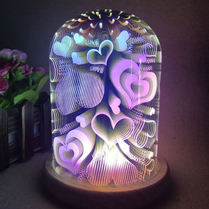 3D Display LOVE Glass LED Dome