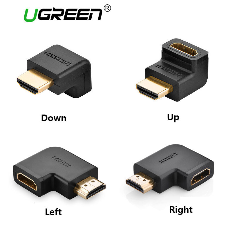 UGREEN HDMI Connector Male to HDMI Female Adapter 4K Converter Extender 270 90 Degree Right Angle for 1080P HDTV PC HDMI Adapter