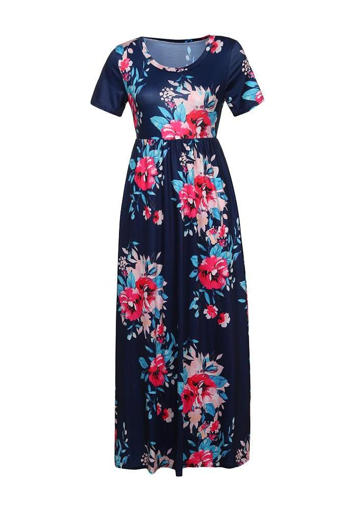 Blue Floral Print O Neck Short Sleeve  Maxi Dress