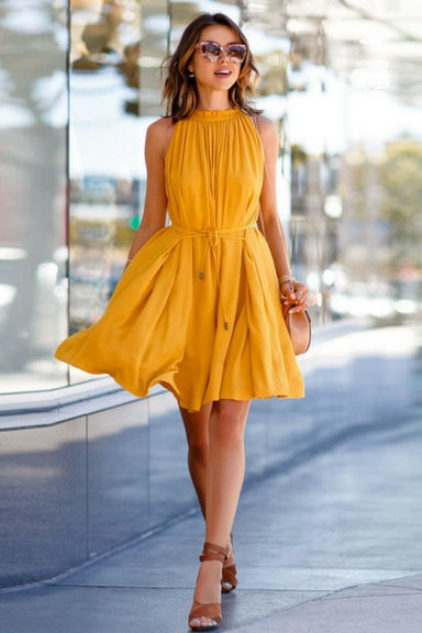 Elegant Shift Neck Chiffon Dress With Belt Keyhole Dress