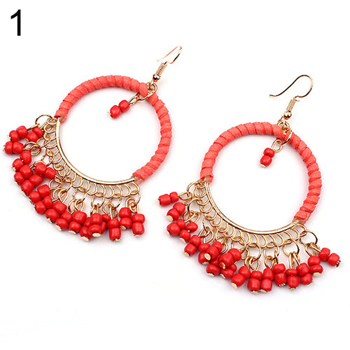 Women's Boho Style Seed Beads Tassels Circle Charm Dangle Hook Earrings Jewelry AS2D