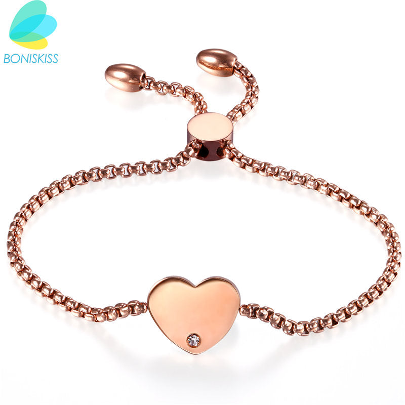 Boniskiss Heart Charm Bracelets & Bangles For Women Rose Gold Color Fashion Brand Crystal Bracelet Femme Jewelry