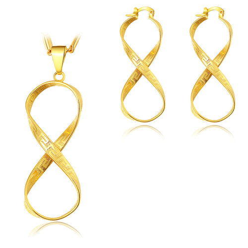 BRZHA brand jewelry set wholesale gold color unique spiral pendant necklace earrings set for women jewelry
