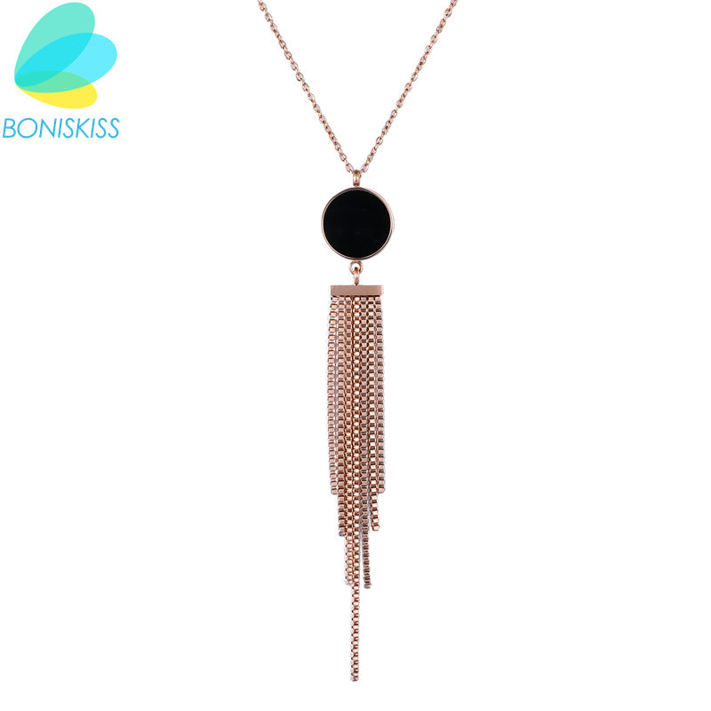 Boniskiss Trendy Women Statement Necklaces Rose Gold Tassel Collier Maxi Pendants Necklace Handmade Jewelry Female Party Gift