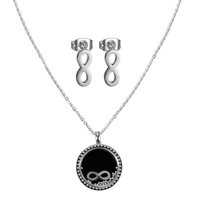 Silver Plated Infinity Charms Necklace Sets
