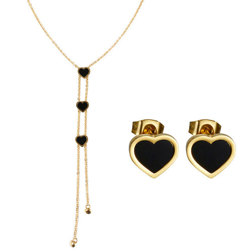 Long Gold Plated Stainless Steel Heart Necklace & Stud Earring Set