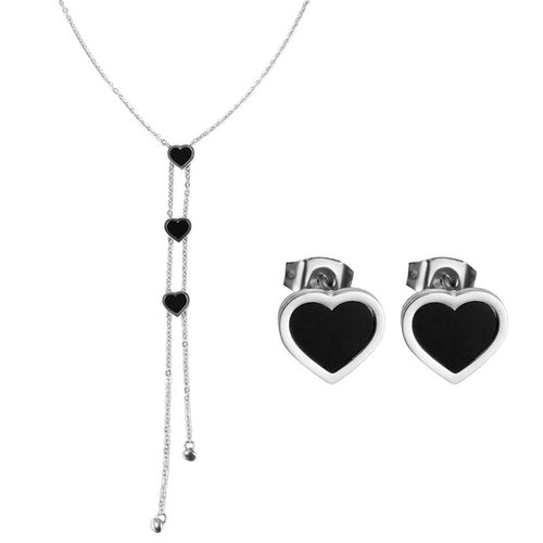 Long Silver Stainless Steel Heart Necklace & Stud Earring Set