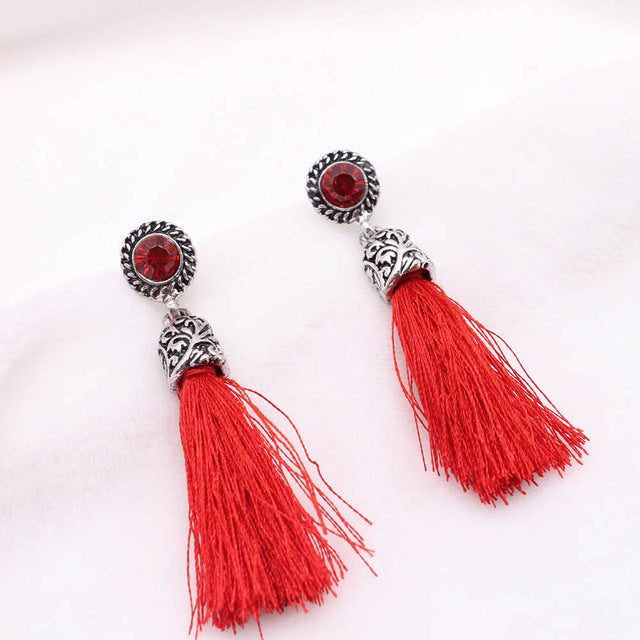Saatleri Round With Cubic Zircon Charm Flower Stud WOMEN VINTAGE EARRINGS FLOWER TASSEL EARRINGS BLACK RED GREY DROP BOHO