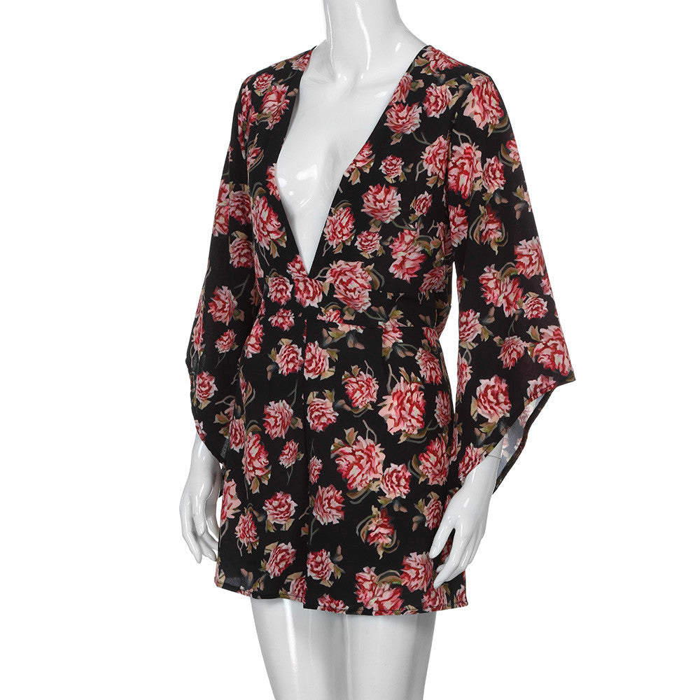 Floral Print Long Sleeve Deep V Sexy Romper