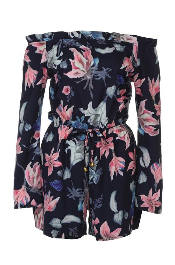 Blue Floral Print Off The Shoulder Trim Long Sleeve Romper