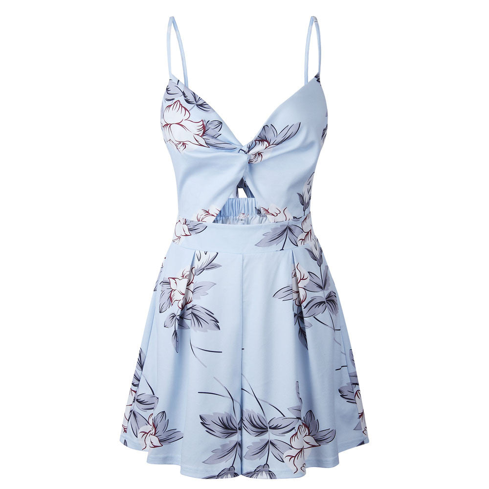 Blue Floral Printed Deep V Backless Spaghetti Strap Rompers