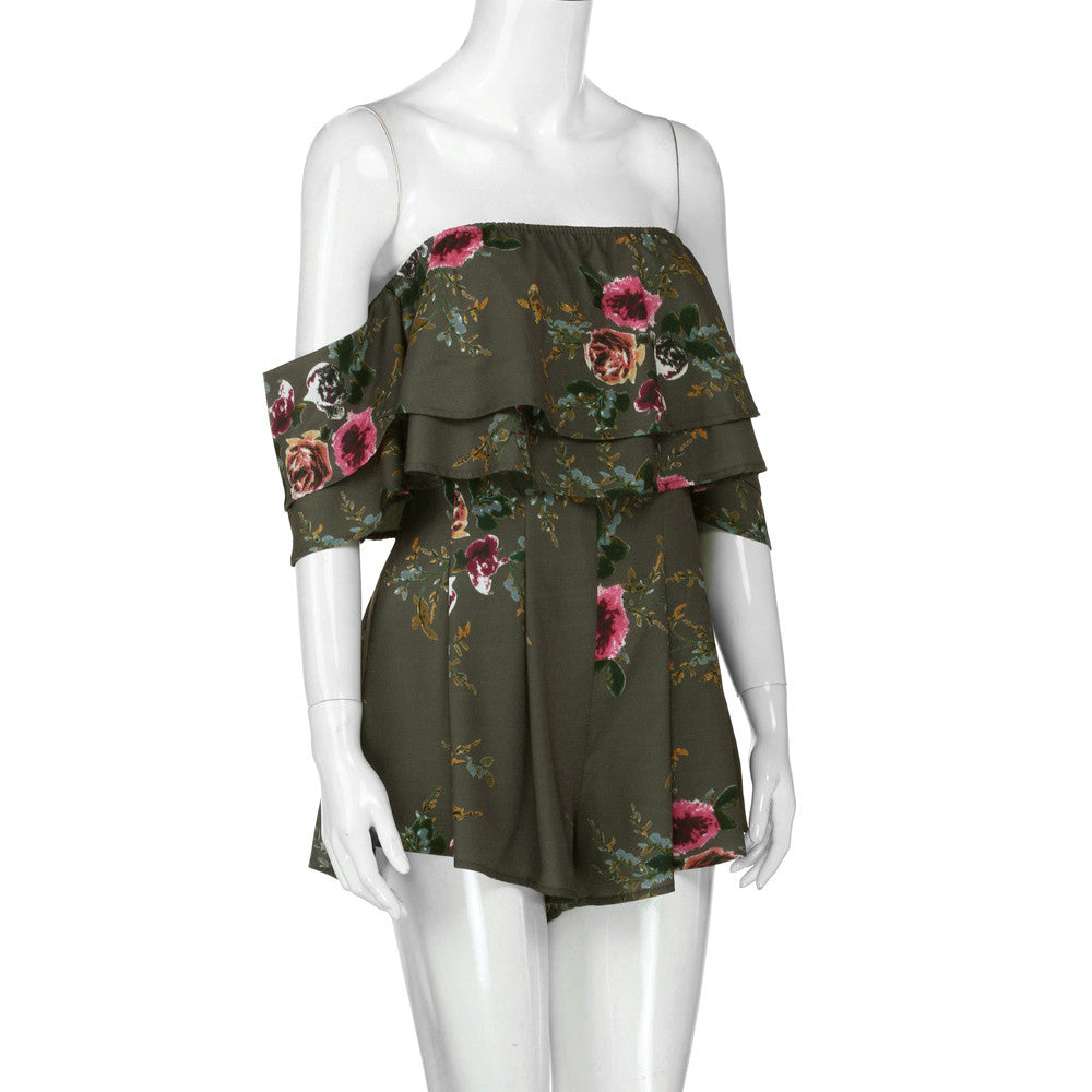 Green Floral Short Sleeve Off The Shoulder Romper