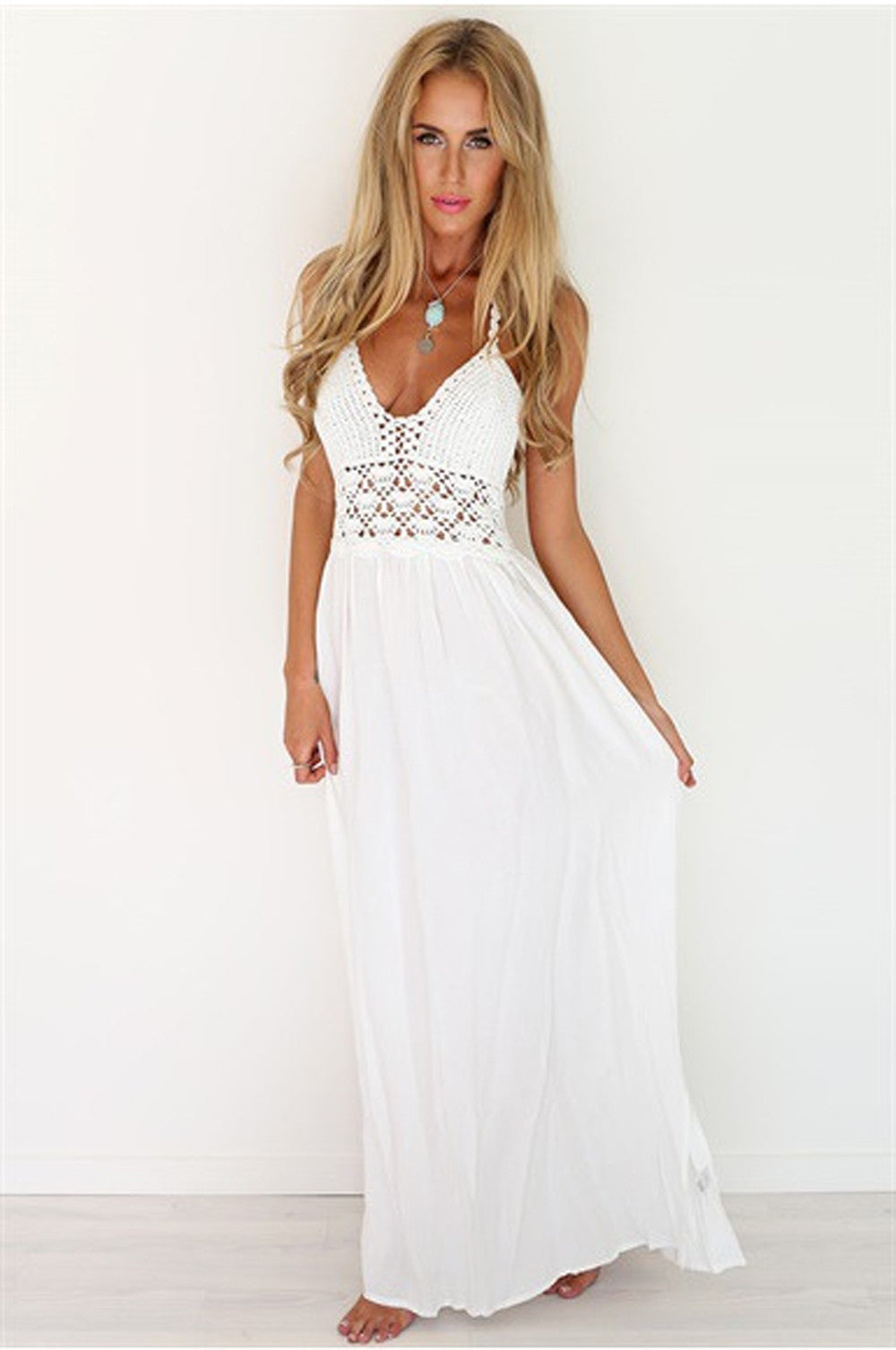Backless Crochet Lace Maxi Dress