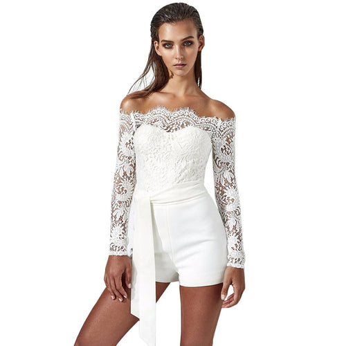 Womens White Lace Playsuit Ladies 2018 Summer Off The Shoulder Full Sleeve Romper Shorts Jumpsuit Woman Trousers With Belt #L