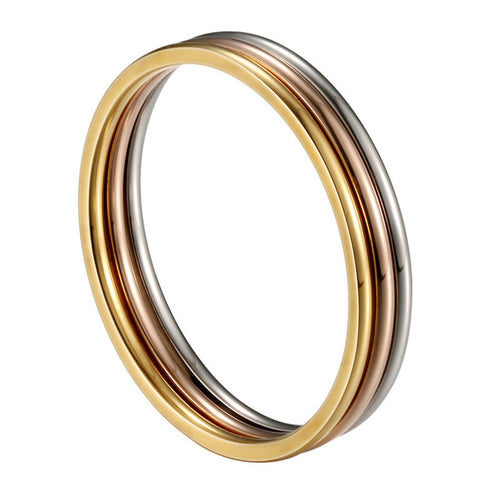 1 MM Thin Stainless Steel Tri Colored Rose Gold/Silver/Gold Rings