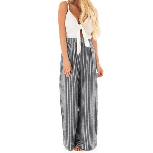 Women Wide Leg Jumpsuit Sexp Deep V Neck Bowknot Sleeveless Striped Romper Casual Ladies Summer Jumpsuit #BF
