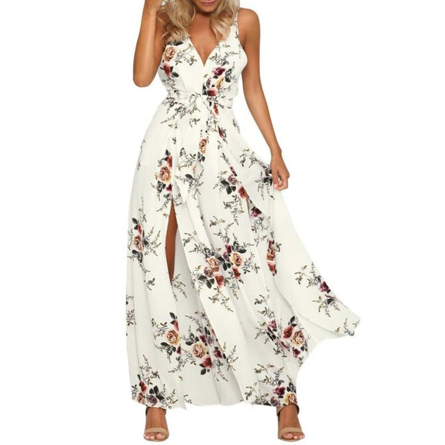 Women Floral Print Jumpsuit  Sleeveless Summer Playsuit  V Neck Backless Crisscross Back Wide Leg Trousers #BF