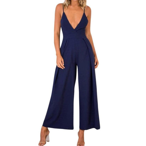Women Summer Jumpsuit Solid Deep V Neck Backless Wide Leg Jumpsuit Bow Tie Back Sexy  Jumpsuits Romper #BF