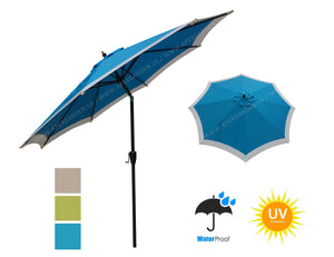 Dual Color 9 Feet 8 Ribs Outdoor Patio Table Market Umbrella with Auto Tilt and Crank