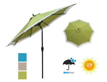 Dual Color 9 Feet 8 Ribs Outdoor Patio Table Market Umbrella with Push Button Tilt and Crank - APEX GARDEN US