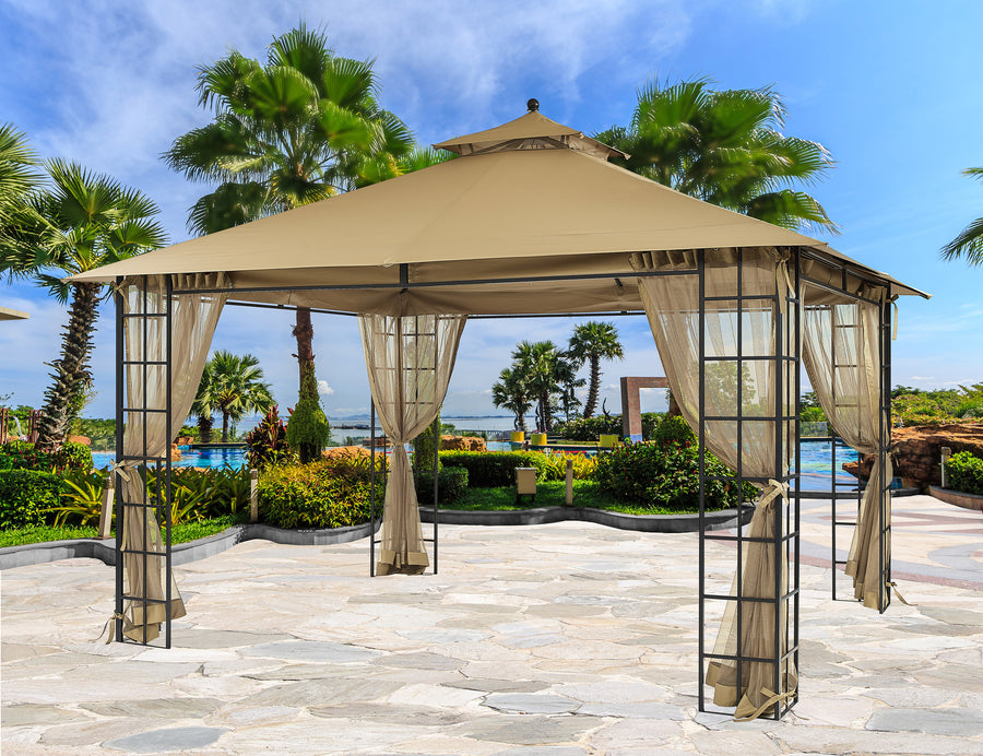 APEX GARDEN YH-20S089HD10 ft. x 12 ft. Melody Gazebo with Mosquito Net - APEX GARDEN US