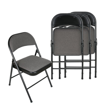 APEX GARDEN Deluxe Fabric Padded Folding Chair (Set of 4) - Black/Grey - APEX GARDEN US