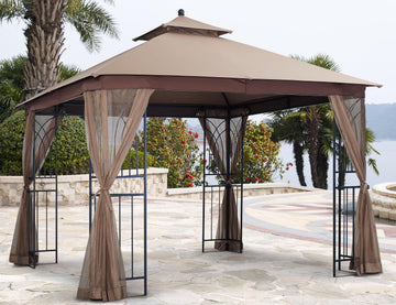 APEX GARDEN Two-Tier 10 ft. x 10 ft. Harmony Gazebo with Mosquito Net and Corner Shelves - APEX GARDEN US