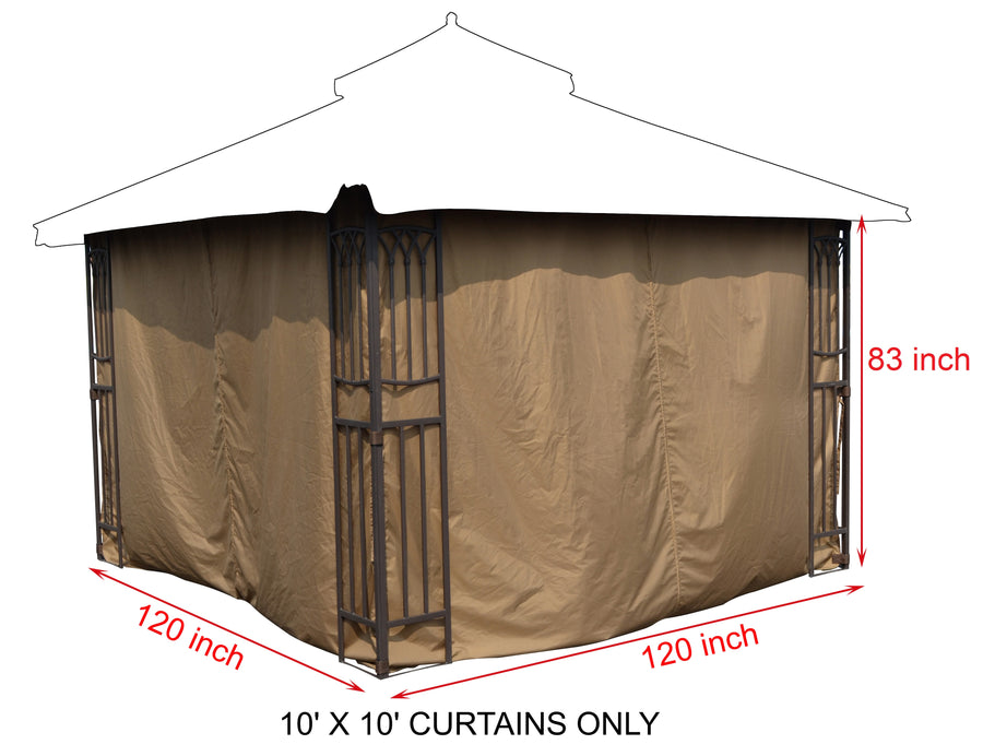 APEX GARDEN Universal 10'X10' Gazebo Curtain Set for 4 sides - APEX GARDEN US