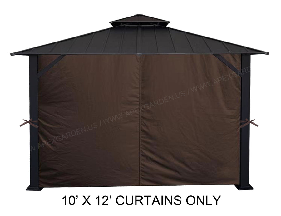 APEX GARDEN Universal Privacy Side Panels Curtain Set for 10' x 12' Gazebo - APEX GARDEN US