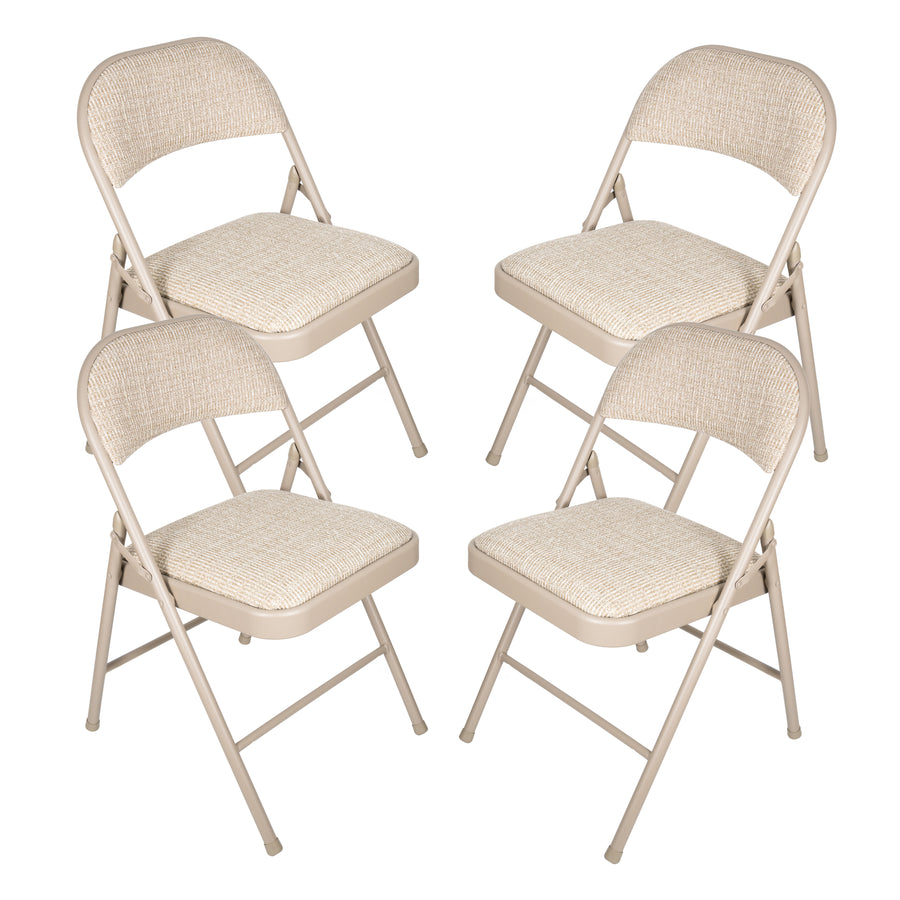 APEX GARDEN Deluxe Fabric Padded Folding Chair (Set of 4) - Beige - APEX GARDEN US