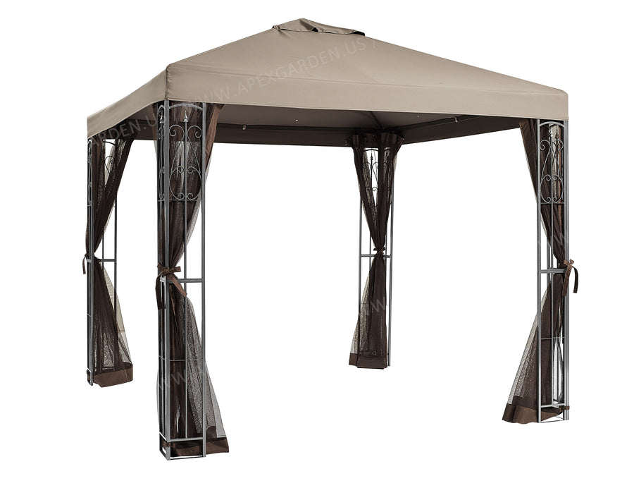 APEX GARDEN YH-20S117HD 8 ft. x 8 ft. Gazebo with Mosquito Net - APEX GARDEN US