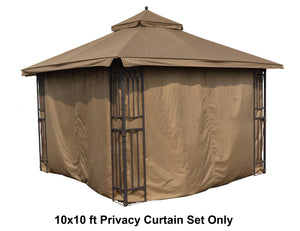 ALISUN Universal 10'X10' Gazebo Curtain Set for 4 sides- Brown - APEX GARDEN US