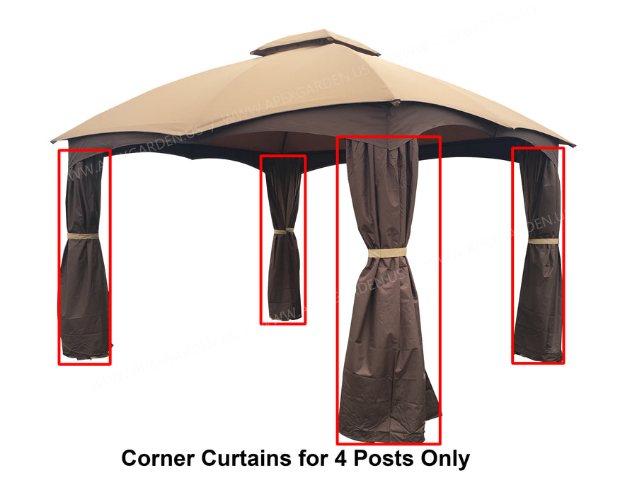 4 Poles Corner Curtain Set for Lowe's Allen Roth 12x10 Gazebo #GF-12S004BTO/GF-12S004B-1 - APEX GARDEN US