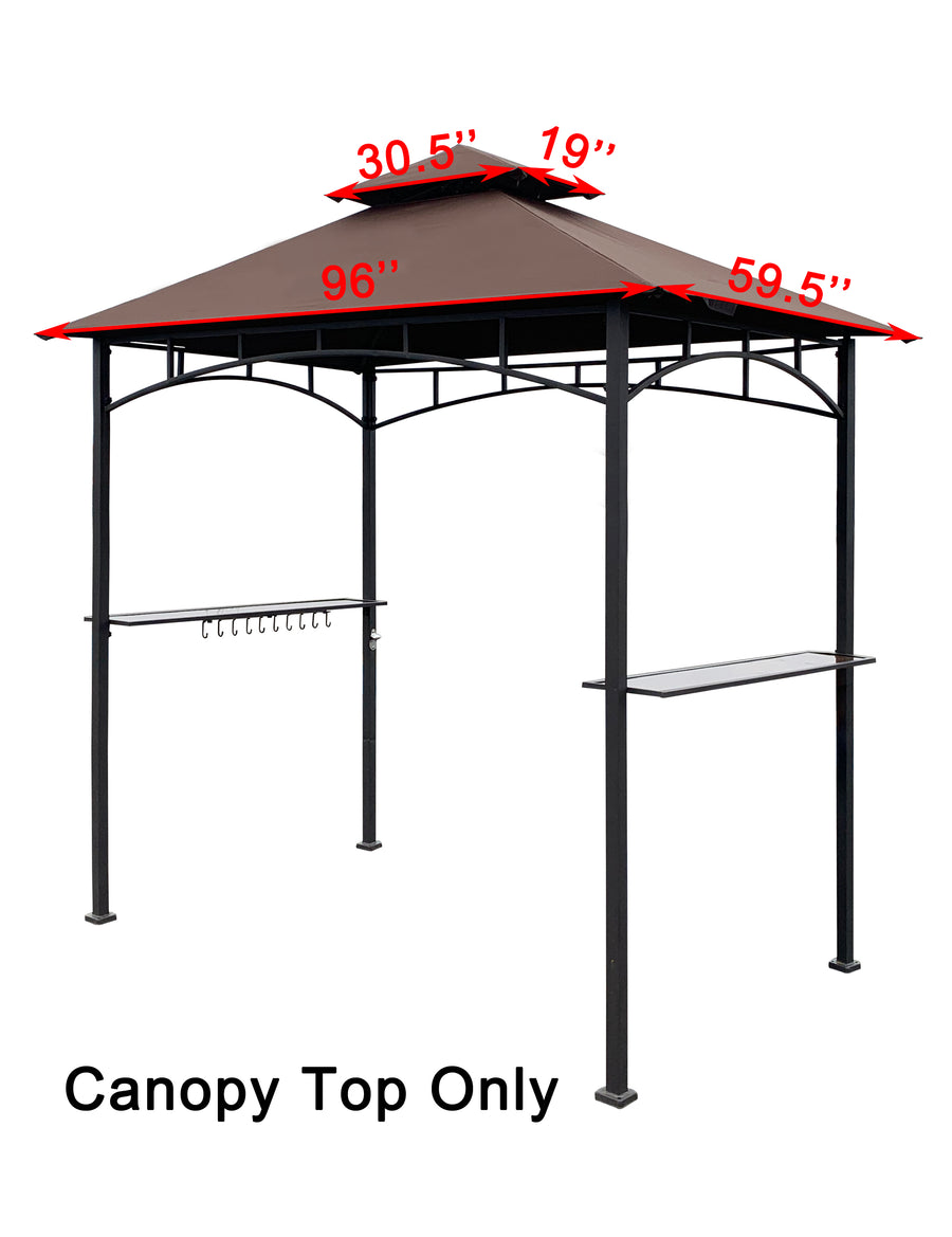 APEX GARDEN Replacement Canopy Top for Model #L-GG001PST-F 8' X 5' Brown Double Tiered Canopy Grill BBQ Gazebo (Canopy Top Only) - APEX GARDEN US