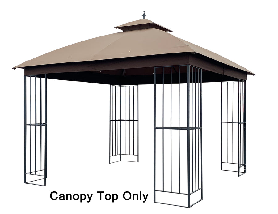 APEX GARDEN Canopy Top for Garden Treasures 10 ft x 10 ft Brown Metal Square Semi- Gazebo Model #L-GZ038PST-F (Top Only) - APEX GARDEN US