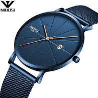 Blue Stainless Steel Ultra Thin Watche Men Classic