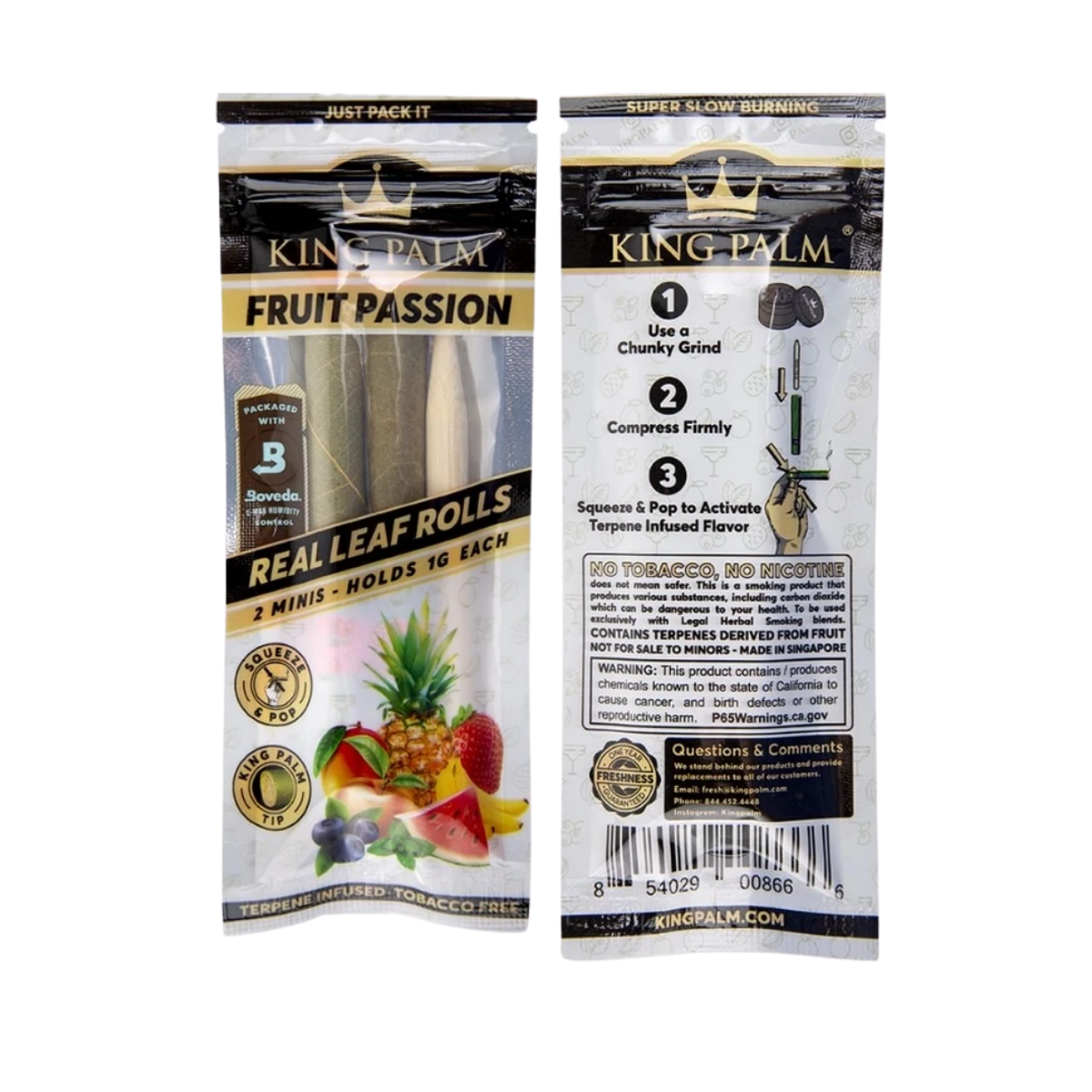 King Palm Super Slow Burning Wraps Pack with 2 Mini Rolls - Fruit Passion Flavour - Holds 1g each - The Green Box Australia